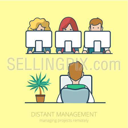 Linear line art business people distant work remotely project management concept flat icon. Infographics design web site elements vector illustration.