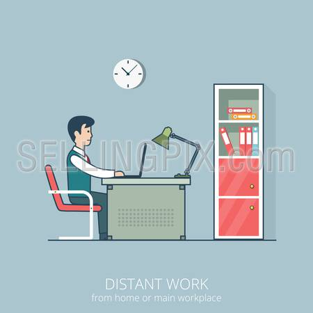 Linear flat line art style business distant work workplace office interior concept. Freelance man sitting at the table working laptop. Red shelf books room metal chair clock on grey wall folder lamp.