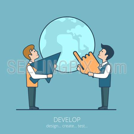 Linear flat line art style business develop idea worldwide concept. Conceptual businesspeople vector illustration collection.