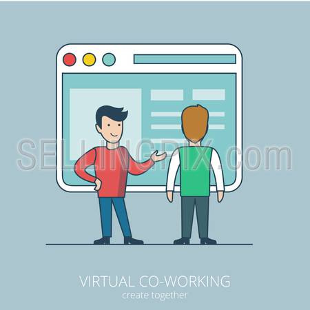 Linear flat line art style virtual coworking business concept. Two male businessman standing before big computer interface window form. Conceptual businesspeople vector illustration collection.