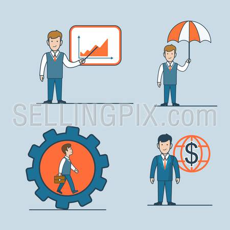 Linear flat line art style business people concept icon set. Report graphic umbrella safe place cogwheel investment worldwide. Conceptual businesspeople vector illustration collection.