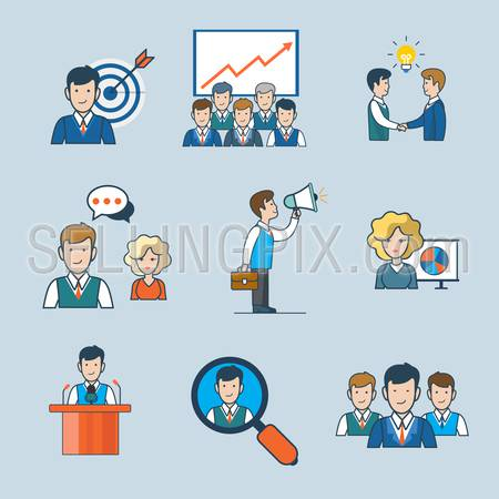 Linear flat line art style business people concept icon set. Targeting report idea partnership chat discuss announce promote speaker conference search team. Conceptual vector illustration collection.