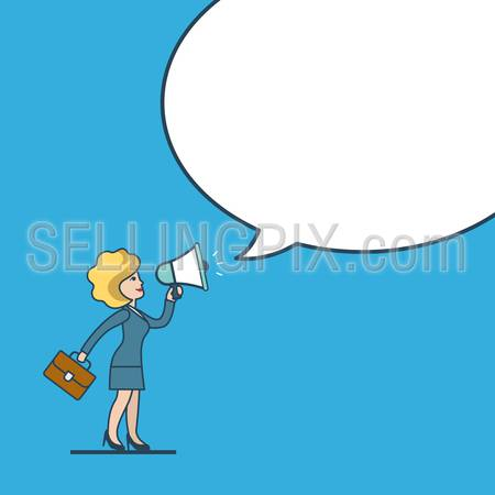 Linear flat line art style business promotion white blank background chat bubble message  template concept. Businesswoman megaphone promo. Conceptual businesspeople vector illustration collection.