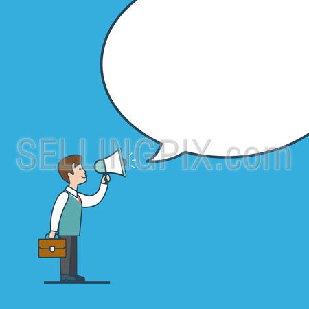 Linear flat line art style business promotion white blank background chat bubble message  template concept. Businessman megaphone promo. Conceptual businesspeople vector illustration collection.