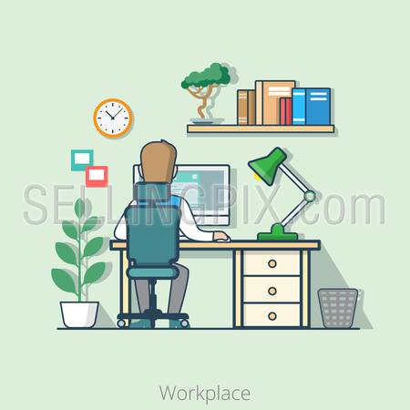 Linear flat line art style business workplace office interior desk concept. Businessman rear back view table computer lamp bookshelf plant. Conceptual businesspeople vector illustration collection.
