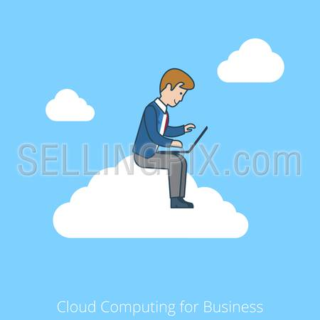 Linear flat line art style cloud computing for business concept. Businessman working laptop sitting cloud. Conceptual businesspeople vector illustration collection.