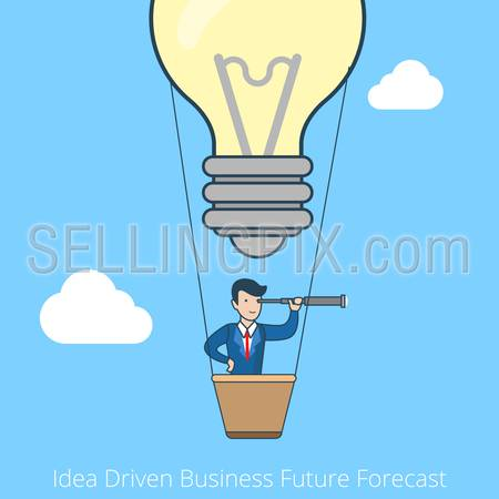 Linear flat line art style idea driven business future forecast concept. Business vision. Businessman flying balloon lamp. Conceptual businesspeople vector illustration collection.