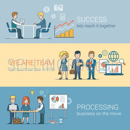 Teamwork Success Processing infographics. Linear flat line art style business people concept. Conceptual businesspeople team work vector illustration collection. Globe laptop table man woman board.