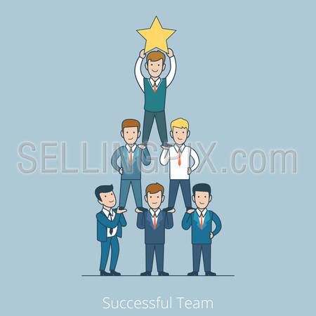 Successful Team men pyramid with star in hands. Teamwork Linear flat line art style business people concept. Conceptual businesspeople team work vector illustration collection. Man support level.