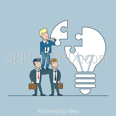Partnership Idea men support pyramid. Linear teamwork flat line art style business people concept. Conceptual businesspeople team work vector illustration collection. Huge lamp puzzle.