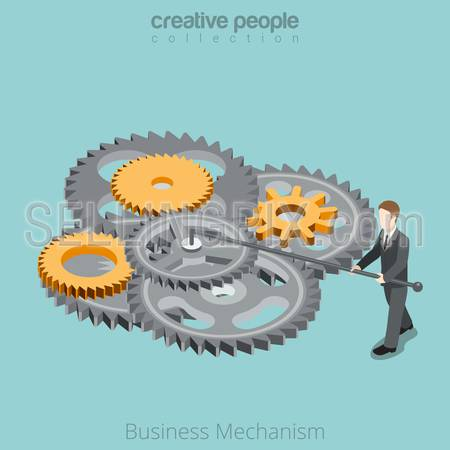Isometric Business Mechanism gear wheel concept. Flat 3d isometry style web site vector illustration. Creative people collection. Man twist turns gearwheels.