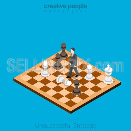 Isometric Unsuccessful business Strategy concept. Flat 3d isometry style web site vector illustration. Creative people collection. Man moves on chess board wrong combination pawn white black.