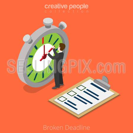 Isometric Broken Deadline over limit business concept. Flat 3d isometry style web site vector illustration. Creative people collection. Man hold timer arrow stopwatch watch stop time overtime timeless