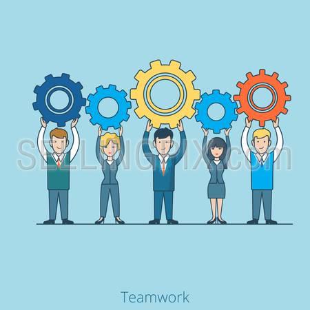 Teamwork Businessman Businesswoman gearwheel in hands. Linear flat line art style business people concept. Conceptual businesspeople team work vector illustration collection.