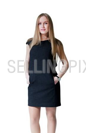 Pretty lady wearing fashionable dress. Fresh new young face. Studio shot, isolated.