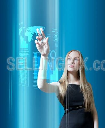 Amazing blonde with interface in the future (outstanding business people in interiors / interfaces series)