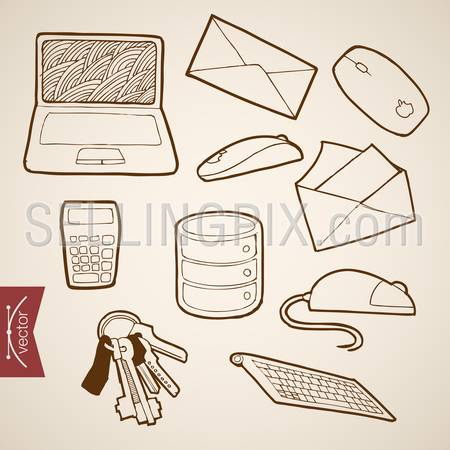 Engraving vintage hand drawn vector working place Laptop, Letter, Calculator, Mouse collection. Pencil Sketch office supplies illustration.