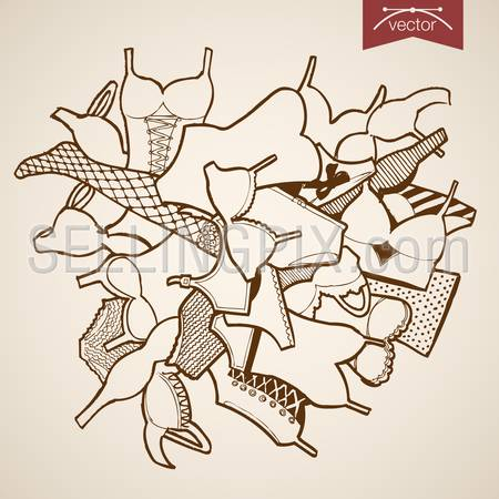 Engraving vintage hand drawn vector underwear clothes and accessories collection. Pencil Sketch wear belongings illustration.