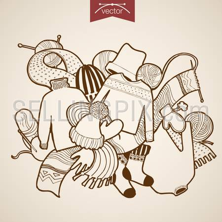 Engraving vintage hand drawn vector winter knitted clothes. Pencil Sketch hat, pullover, knitting scarf illustration.
