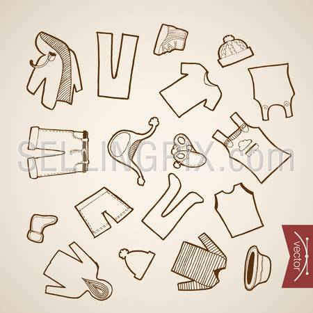 Engraving vintage hand drawn vector Shoes, Shorts, Hat, Jacket children winter clothes collection. Pencil Sketch belongings and accessories illustration.