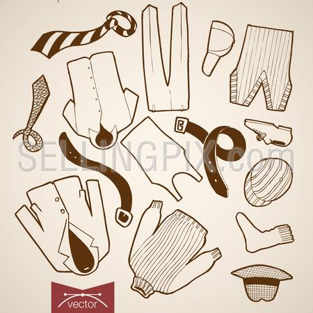 Engraving vintage hand drawn vector jacket, hat, tie, shorts, pants, belt male clothes collection. Pencil Sketch belongings and accessories illustration.