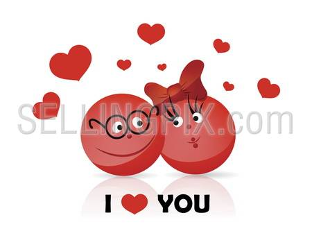 Vector. Funy couple. I LOVE YOU text. Fresh creative solution to use in valentine's day / wedding greetings, invitation, background, advertisement design.