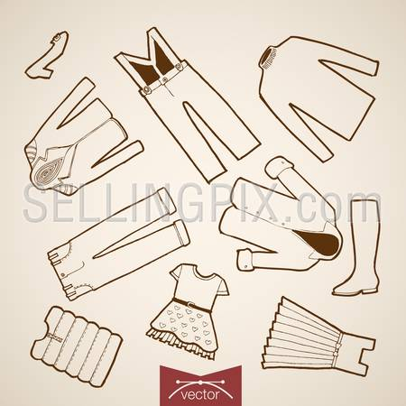 Engraving vintage hand drawn vector Shoes, Dress, jacket children clothes collection. Pencil Sketch belongings and accessories illustration.