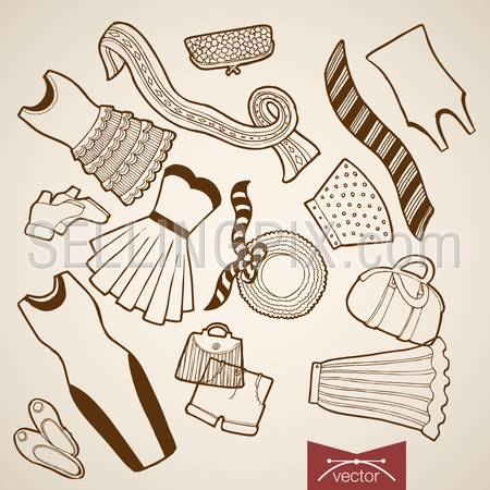 Engraving vintage hand drawn vector Shoes, dress, skirt, bag, sweeter, hat, jacket woman clothes collection. Pencil Sketch belongings and accessories illustration.