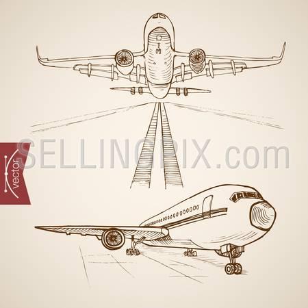 Engraving vintage hand drawn vector Air transport collection. Pencil Sketch plane transportation illustration.