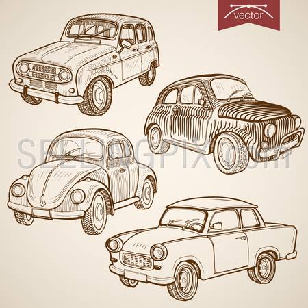 Engraving vintage hand drawn vector retro car collection. Pencil Sketch wheeled transport illustration.