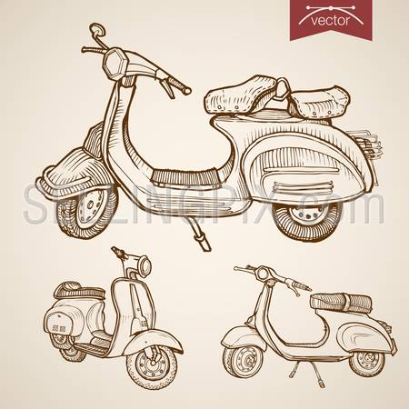 Engraving vintage hand drawn vector low speed moped, scooter collection. Pencil Sketch city courier delivery transport illustration.