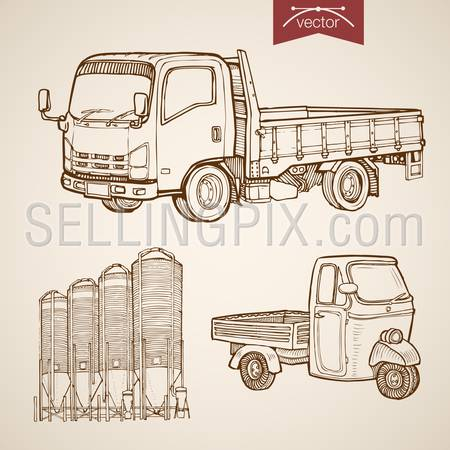 Engraving vintage hand drawn vector pickup, silos of concrete mixing plant collection. Pencil Sketch wheeled cargo transport illustration.