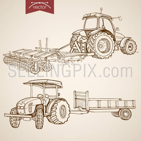 Engraving vintage hand drawn vector tractor plowing ground collection. Pencil Sketch Farm Machinery illustration.