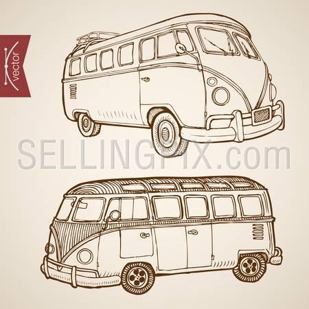Engraving vintage hand drawn vector retro bus collection. Pencil Sketch passenger transport illustration.