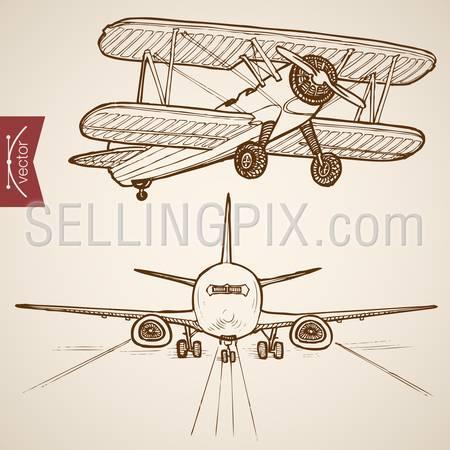 Engraving vintage hand drawn vector Air transport collection. Pencil Sketch Airplane, Plane flying evolution illustration.