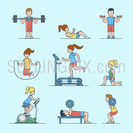 Linear Flat Sport workout health life concepts set for website hero images. Woman, man pumping iron training exercise vector illustration.