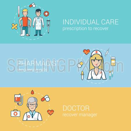 Linear Flat medical staff, health care concepts set for website hero images. Doctor with patient on crutches, nurse, pharmacist professional help vector illustration.