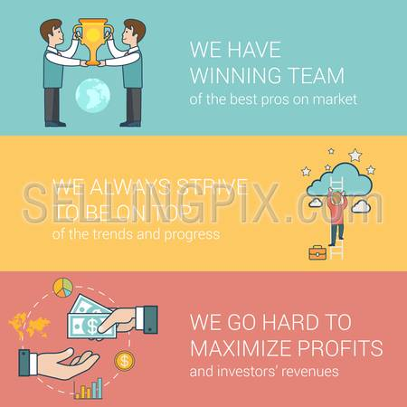 Linear Flat success in business, award team, investor relations concepts set for website hero images. Businessmen with trophy, Man on ladder to cloud, Hands giving and taking money vector illustration