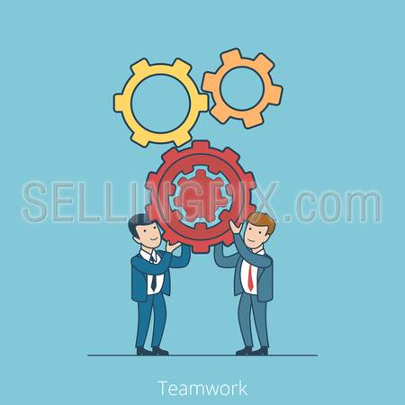 Linear Flat Business people holding gearwheels vector illustration.  Teamwork concept.