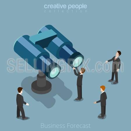 Flat isometric Businessman looking huge binoculars vector illustration. Business Forecast 3d isometry concept.