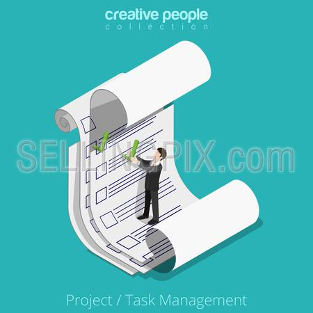 Flat isometric Businessman working with checklist on paper sheet vector illustration.  Project Task Manager business 3d isometry concept.