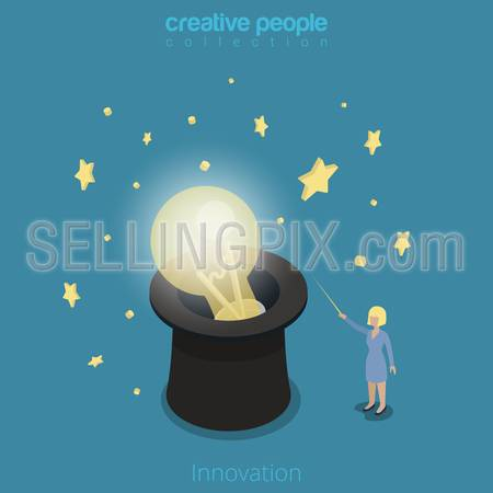 Flat isometric Businesswoman light up lamp in cylinder hat with magic wand vector illustration.  Innovation in business 3d isometry concept.