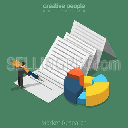 Flat isometric Businessman working with document on paper sheet vector illustration.  Market Research business 3d isometry concept.