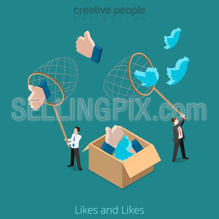 Flat isometric Businessman catch huge Twitter and Like sign with net vector illustration. Business Promotion in social network 3d isometry concept.