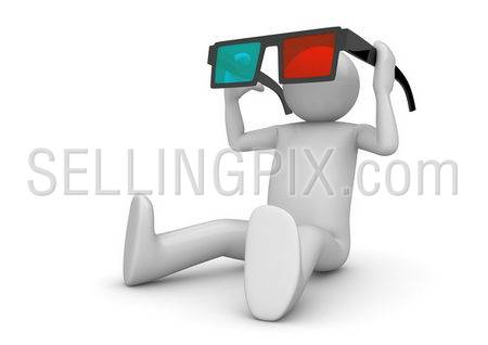 Character wearing 3d stereo anaglyph glasses. Cinema visitor. Isolated. One of a 1000+ 3d characters series.