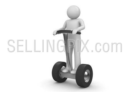 Segway driver. Character on modern ecological electric vehicle. Isolated. One of a 1000+ 3d characters series.