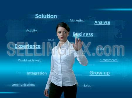 Web 2.0 Girl. Words cloud, pressing the BUSINESS. Concept of pure new technologies, finding right solution, good integration, gaining business experience, sales growing up and much more.