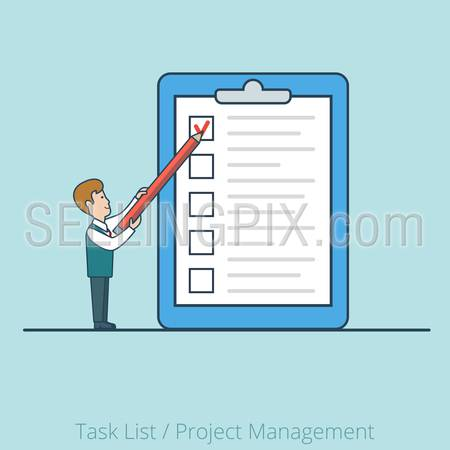 Linear Flat  Businessman working with checklist on paper sheet vector illustration.  Task List, Project Manager business concept.