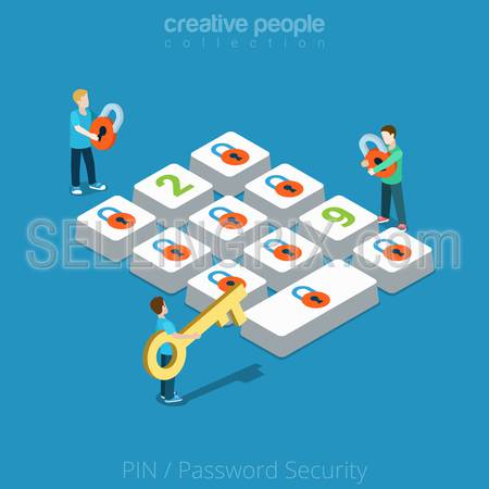 Flat isometric Micro men hold lock and key near huge button vector illustration. People choose Security Password, PIN 3d isometry concept.