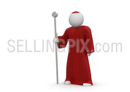 Cardinal / Pope. Isolated. One of a 1000+ 3d characters series.